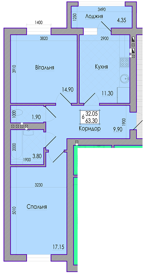 2nd floor, one bedroom apartment